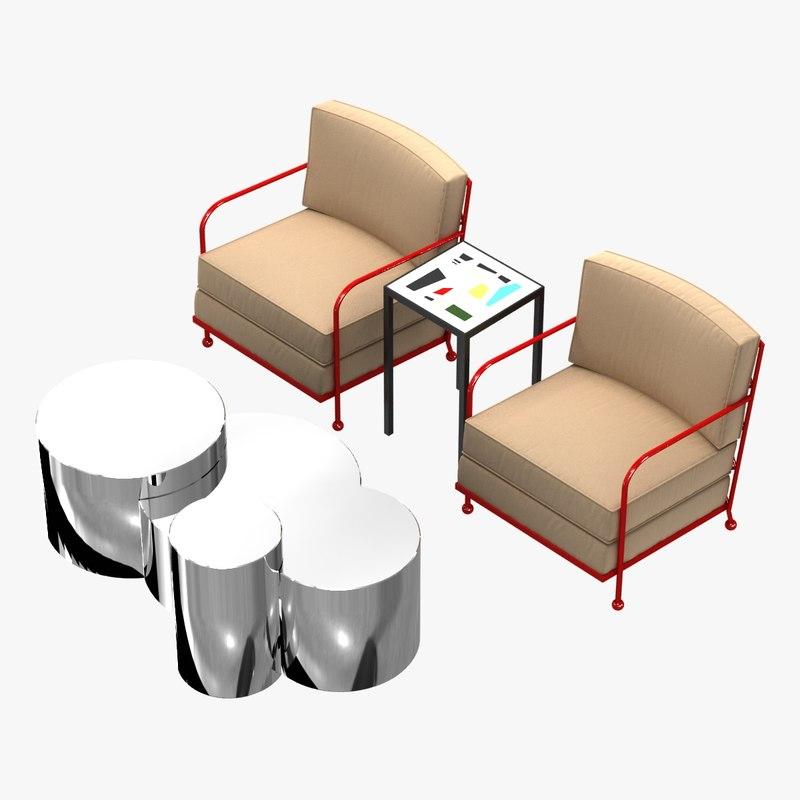 tables chairs custom club 3D