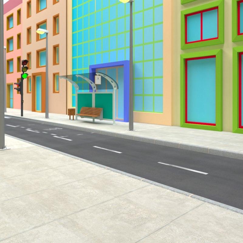 toon street template 3D model