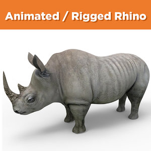 realistic rhino rigged animation 3D model