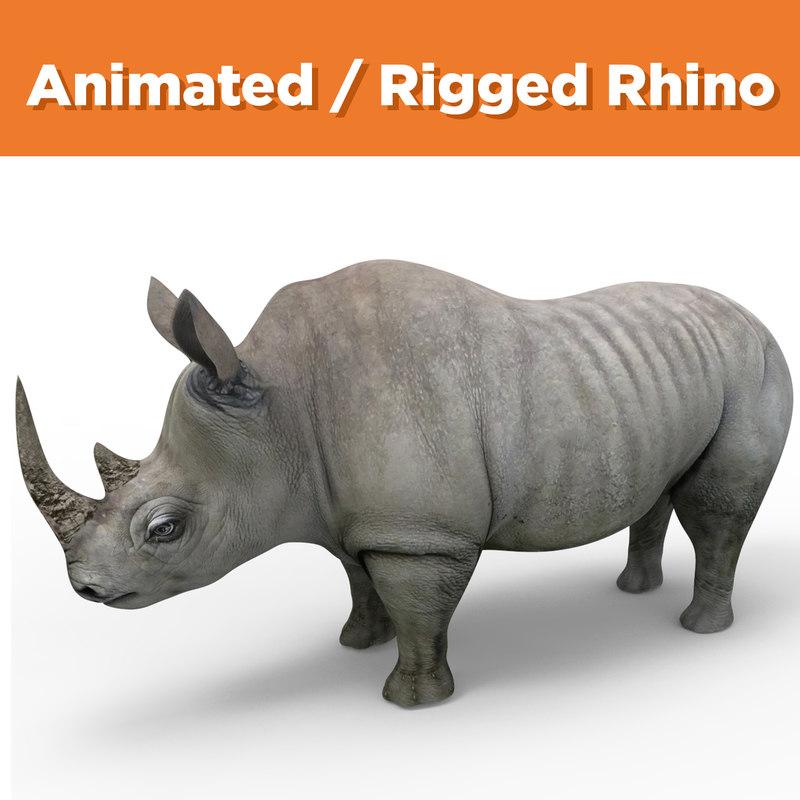 Realistic Rhino Rigged Animation 3D Model