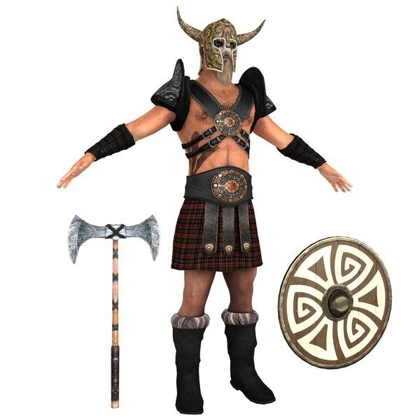 3D barbarian man shield model