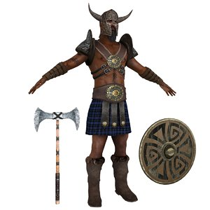 barbarian man shield 3D