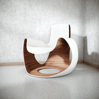 white wooden curved chair 3D model