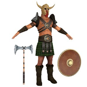 3D barbarian man shield