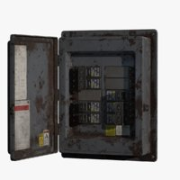 low-poly fuse box pbr 3D