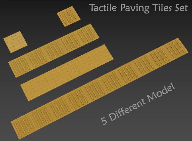 3D model set tactile paving tile