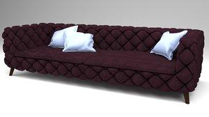 sofa velvet 3D model