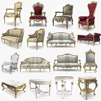 3D realistic classical furniture luxury model
