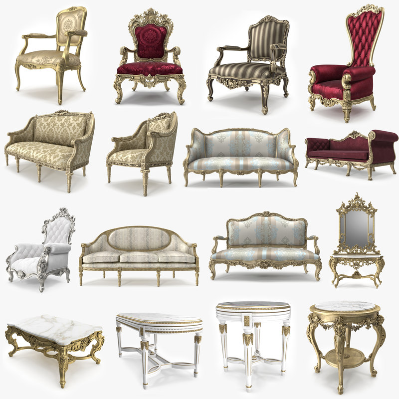 3D realistic classical furniture luxury model