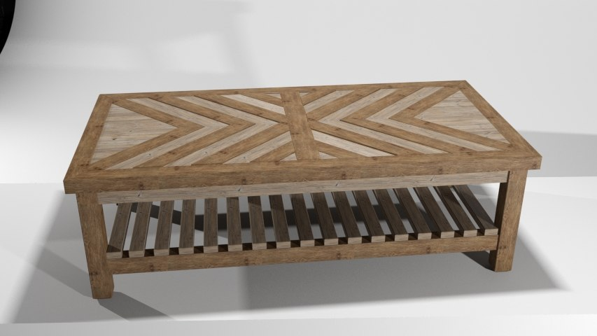 3D rustic coffee table