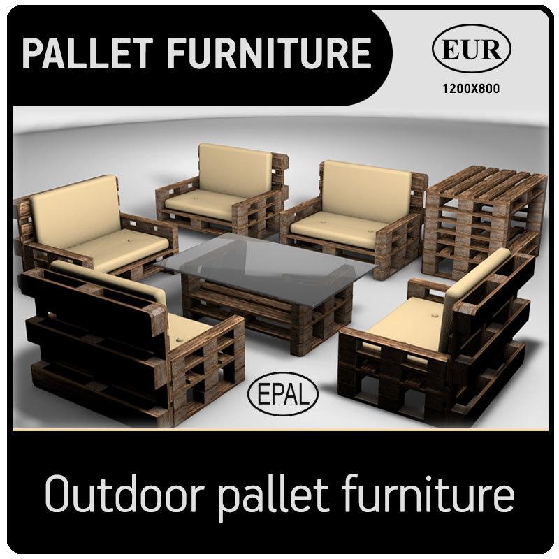 3D outdoor pallet furniture model