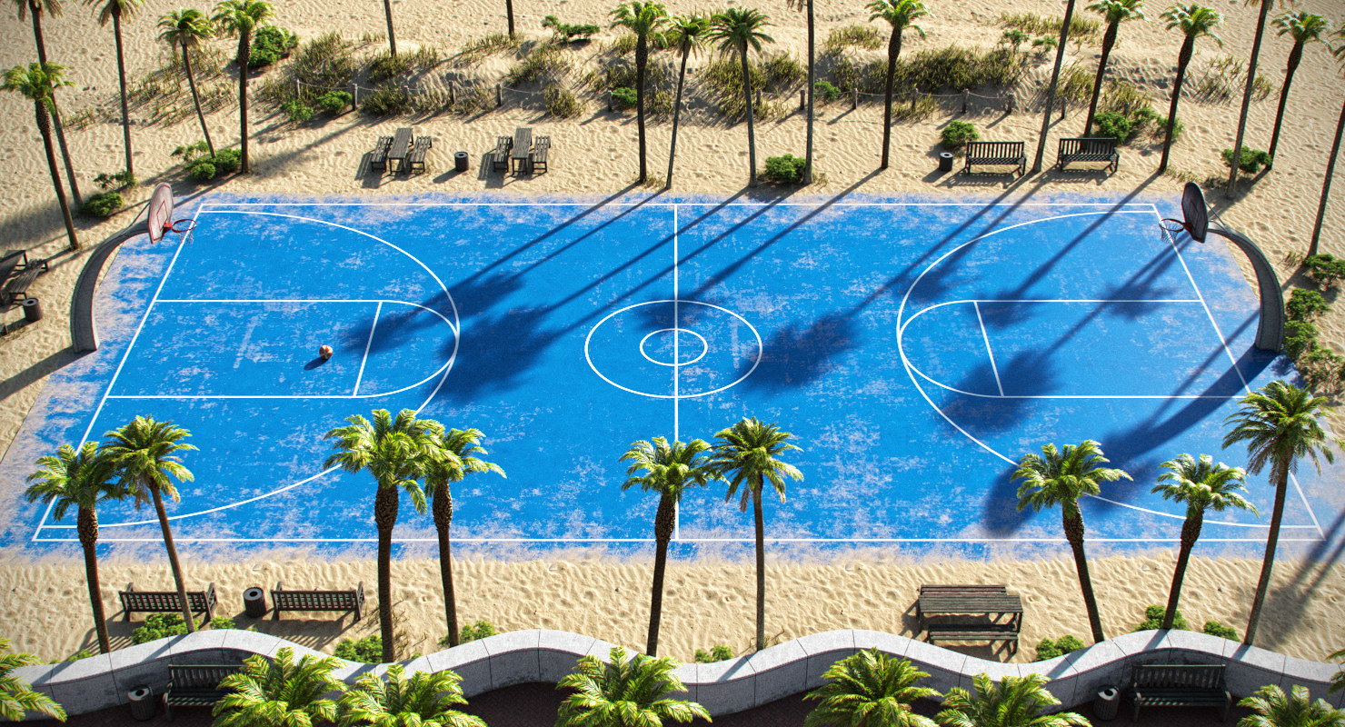 3D outdoor basketball court model