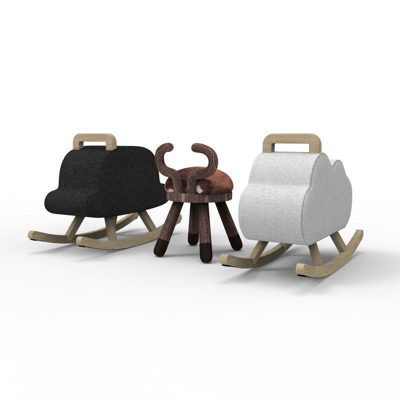 chairs cow bowler 3D