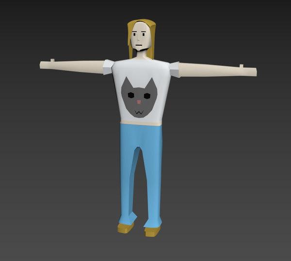 low-poly girl 3D model
