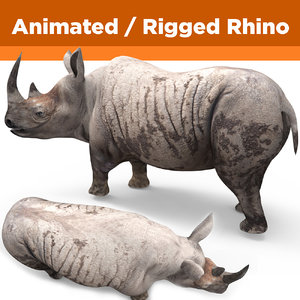 3D model realistic rhino rigged animation