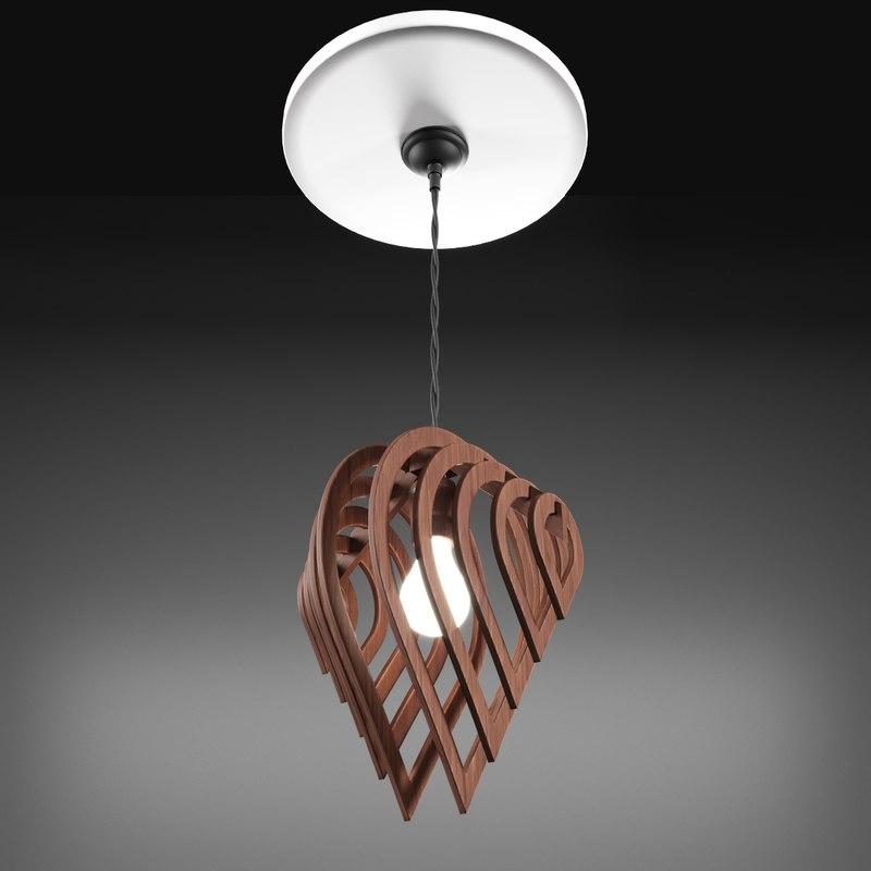 wooden designer ceiling lamp 3D model