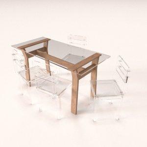 transparent dining table set 3D
