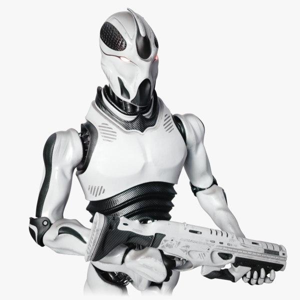 robot soldier concept rig human 3D