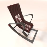designer red rocking chair 3D model