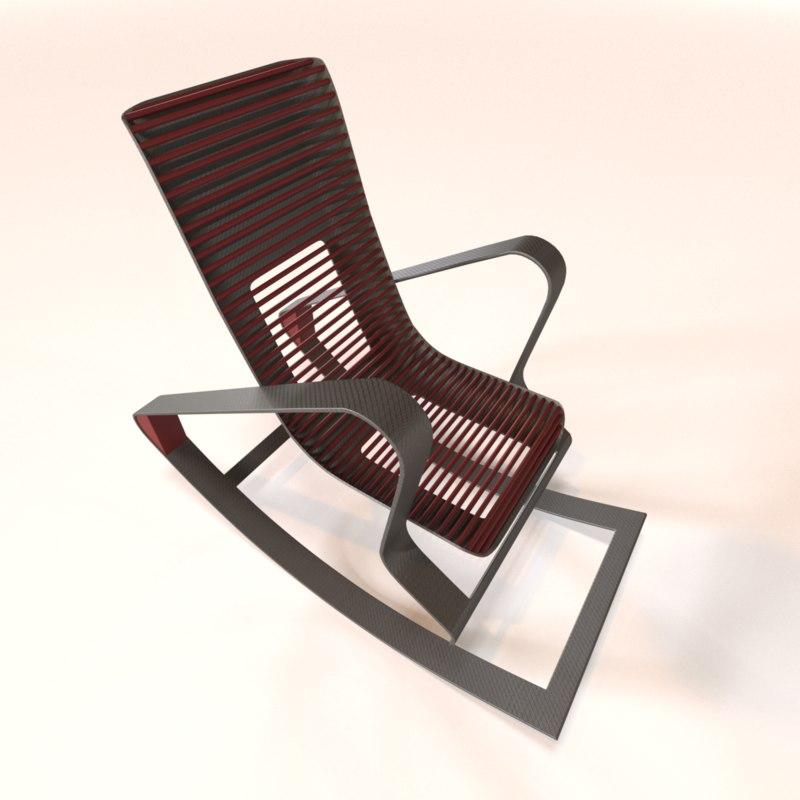 designer red rocking chair 3D model