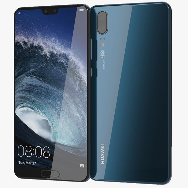 3D realistic huawei p20 midnight model