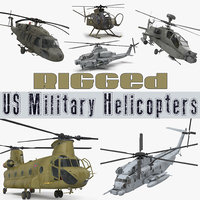 Rigged US Military Helicopters Collection