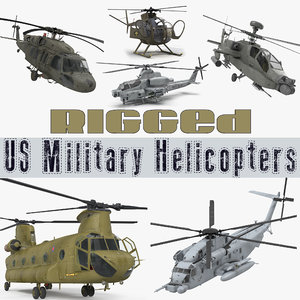 rigged military helicopters 3D model