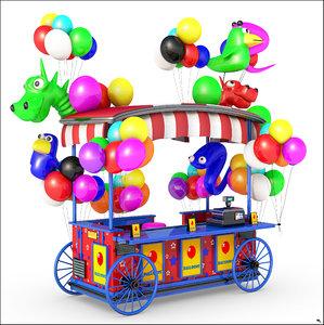 3D model balloon wagon cartoon
