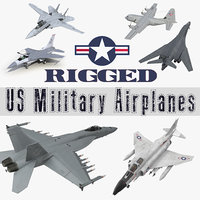 Rigged US Military Airplanes 3D Models Collection