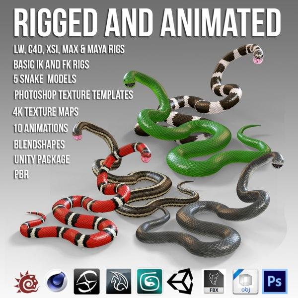 3D snakes animation model