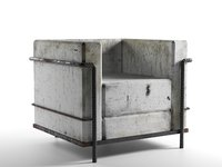 concrete armchair 3D model
