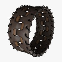 3D leather bracelet brown beige model