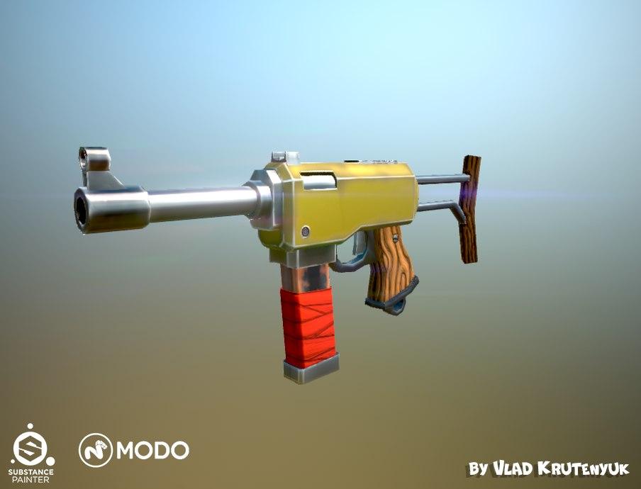 stylized cartoon gun - 3D