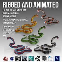 3D snakes pack animation model