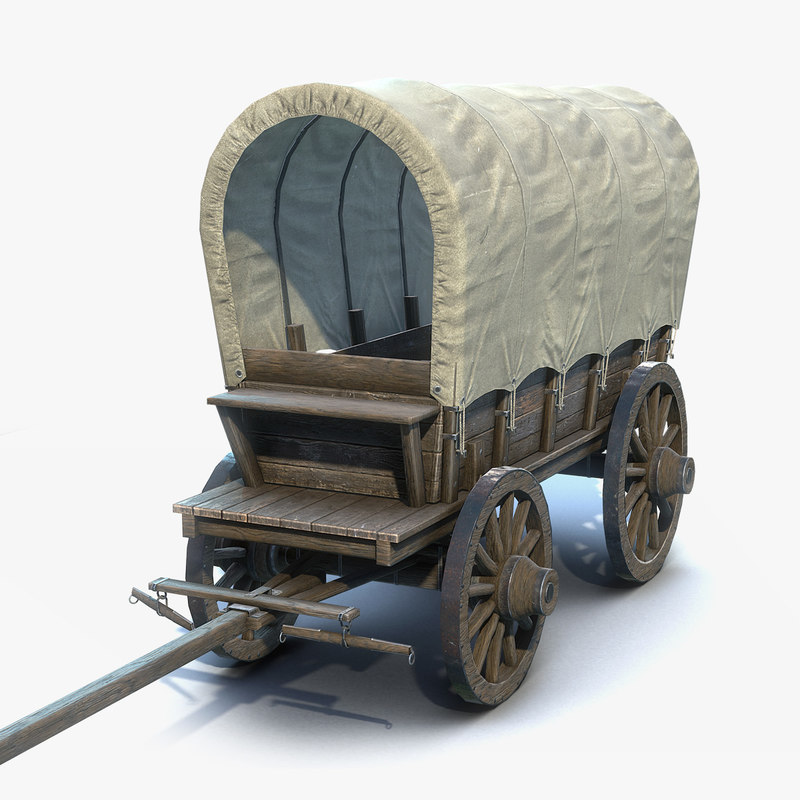 low-poly covered wagon 3D model