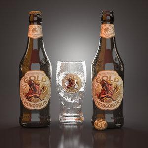 3D hobgoblin gold beer bottles