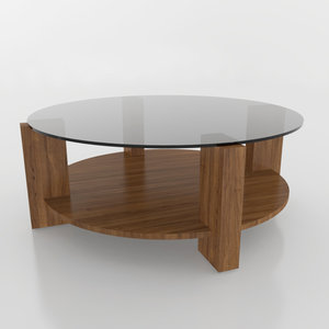 wood glass coffee table 3D