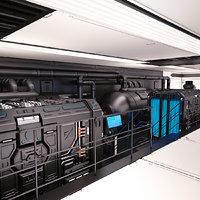 3D sci fi egnineering room
