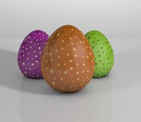 Low poly easter eggs with dots texture