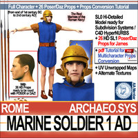 ancient roman marine soldier 3D