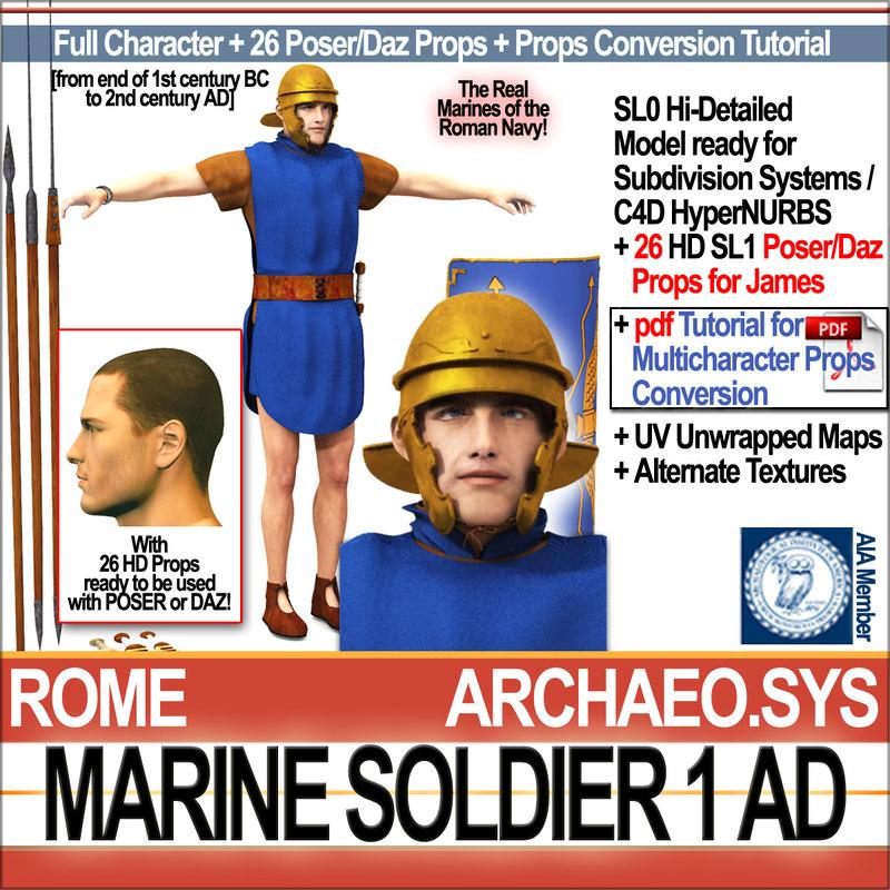 ancient roman marine soldier 3D
