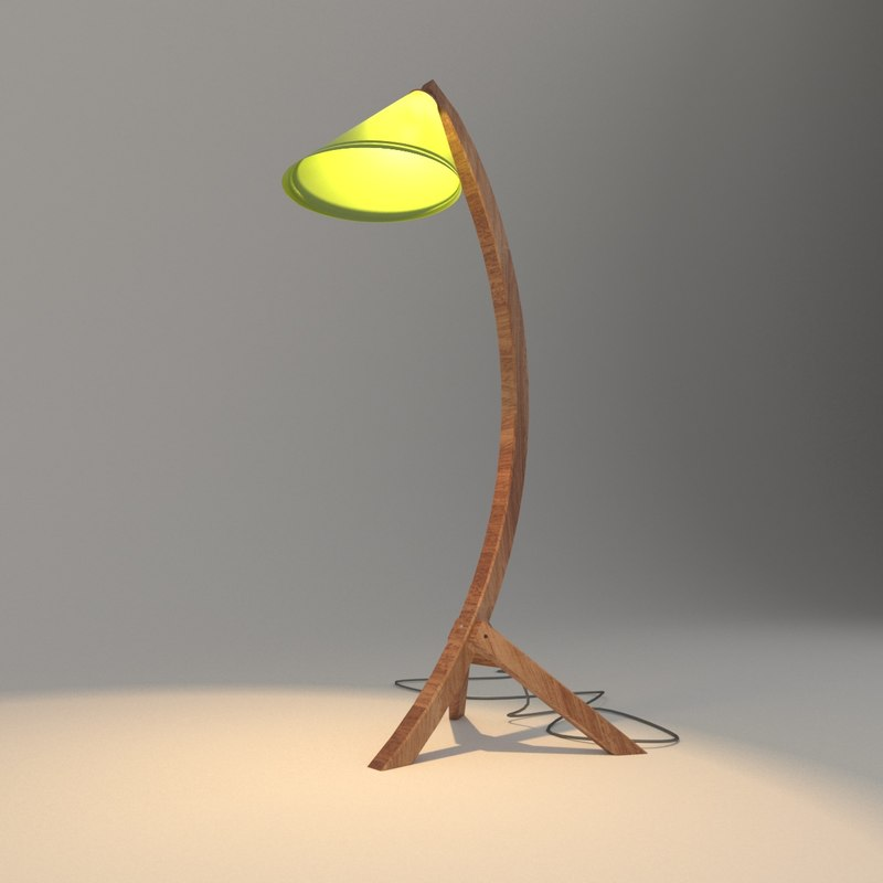floor lamp wood 3D model