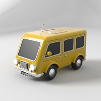 3D cartoon car yellow model