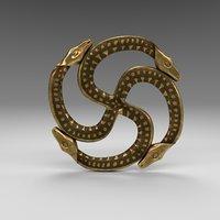 3D swastika baltic brass model