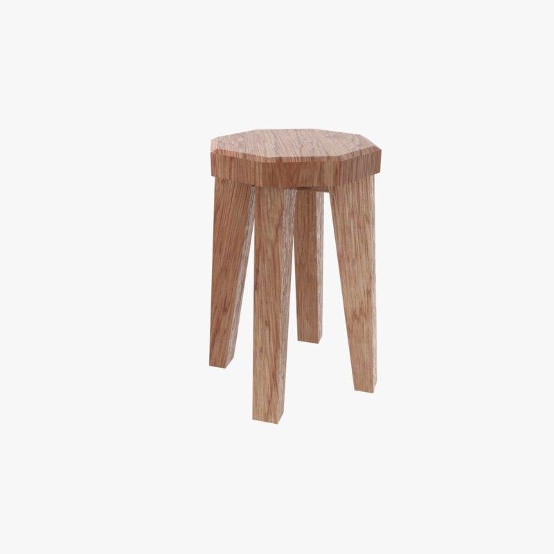 3D wooden stool model