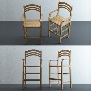 atlantis bar height chair 3D model