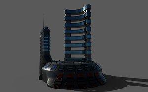 sci-fi hotel 3D model
