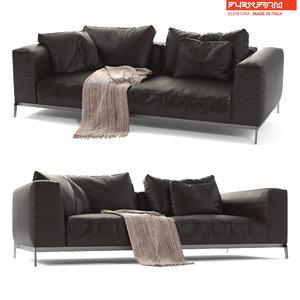 flexform leather sofa ettore 3D model