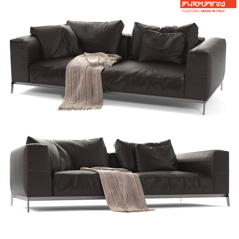 flexform leather sofa ettore 3D model