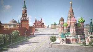 3D model red square russia